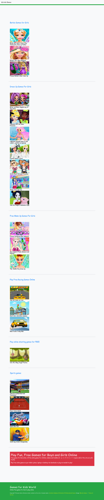 HTML5 Kids Games World Homepage
